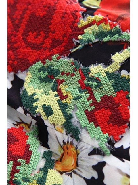 fancy Floral Print Slash Neck Sleeveless Waisted Sun Dress - COLORMIX XL Mobile