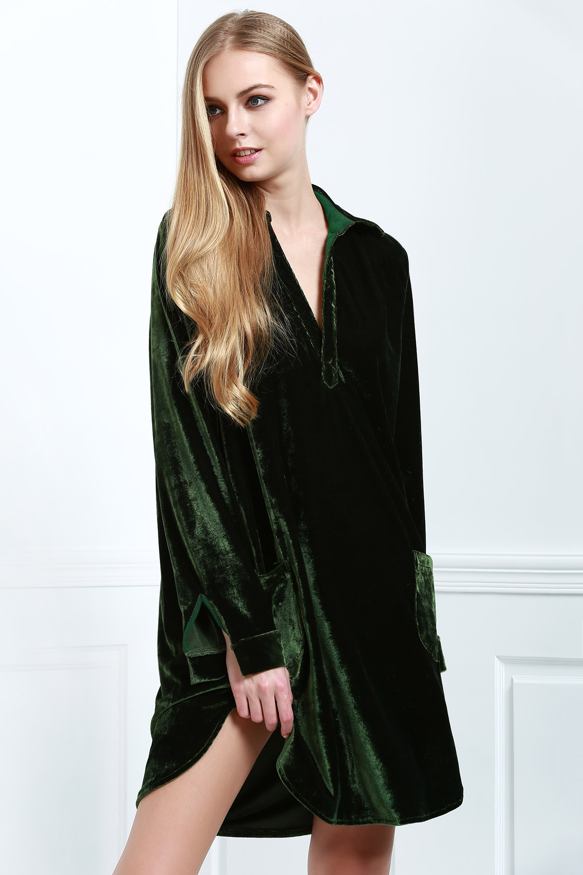 Cozy Velvet Shirt Dress ARMY GREEN: Long Sleeve Dresses ...