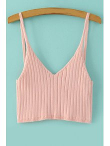 Buy Spaghetti Strap Solid Color Knitted Tank Top - PINK ONE SIZE(FIT SIZE XS TO M)