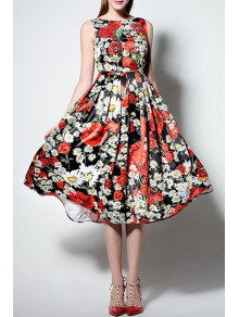 Floral Print Slash Neck Sleeveless Waisted Sun Dress