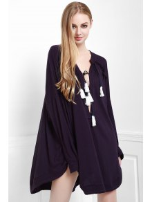Deep Purple Stand Neck Long Sleeve Blouse