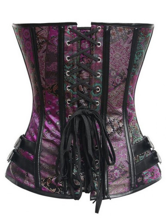 Strapless Sleeveless Lace Up Printed Corset - PURPLE M Mobile