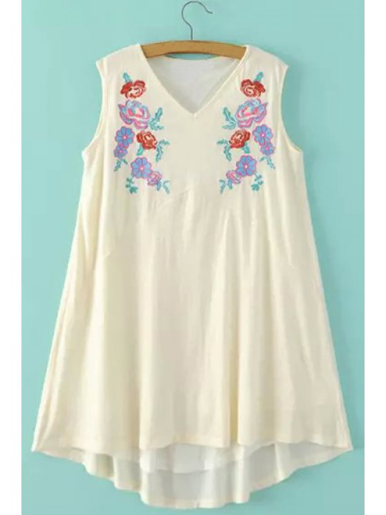 trendy Sleeveless Embroidered A-Line Dress - OFF-WHITE L