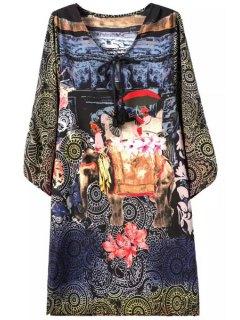 V-Neck 3/4 Sleeve Printed Chiffon Dress - M