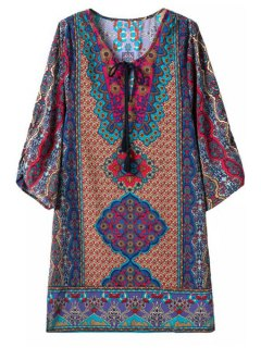 3/4 Sleeve Baroque Print Shift Dress - L