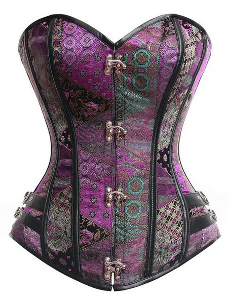 Strapless Sleeveless Lace Up Printed Corset - PURPLE M