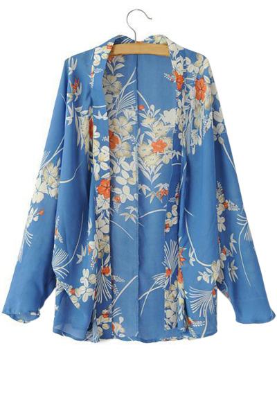 Open Front Long Sleeve Floral Print Kimono Blouse
