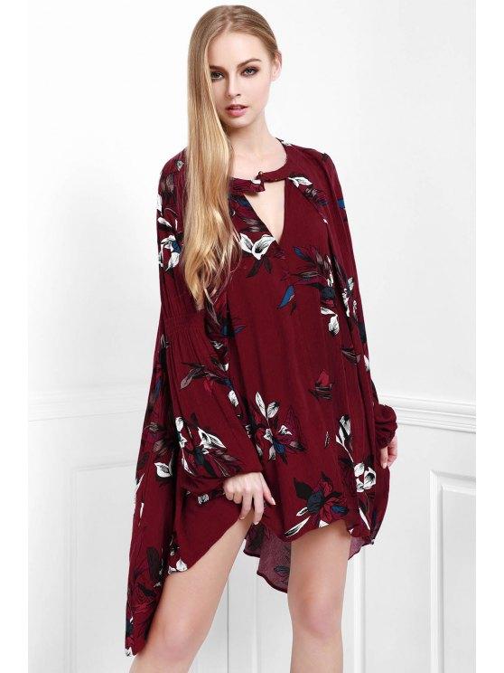 buy Floral Keyhole Neckline Long Sleeve Dress - WINE RED S