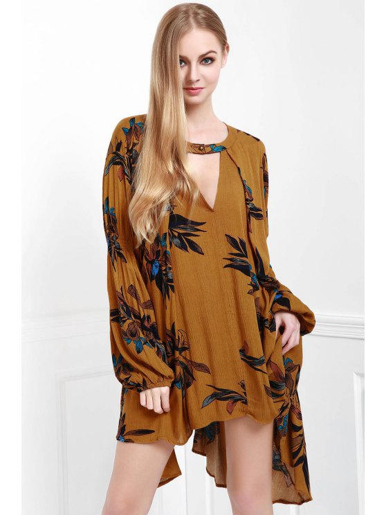 Floral Keyhole Neckline Long Sleeve Dress - EARTHY S Mobile