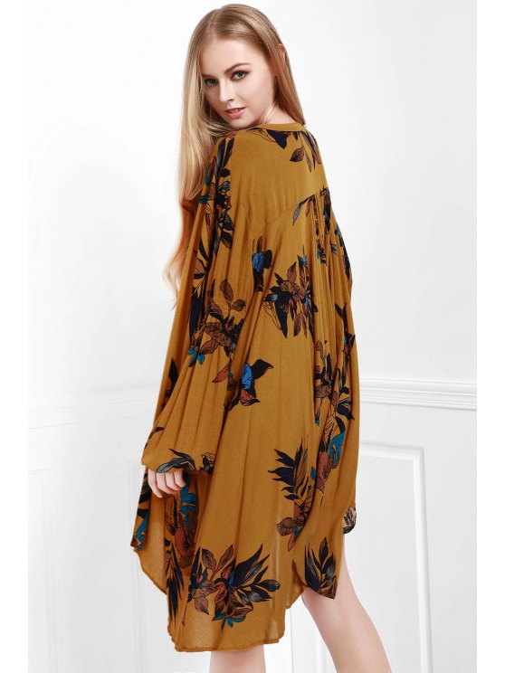Floral Keyhole Neckline Long Sleeve Dress - EARTHY M Mobile