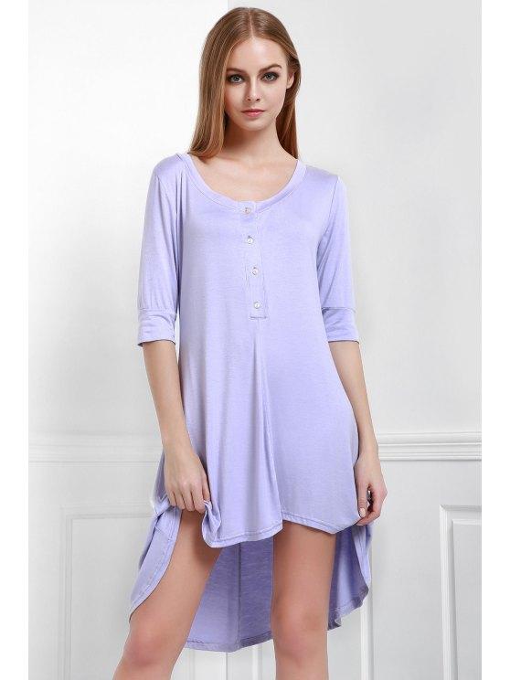 Vestido de Camiseta con Cuello en U con Botones - Púrpura S