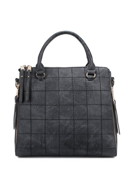 hot Grid Stitching Solid Color Tote Bag - GRAY