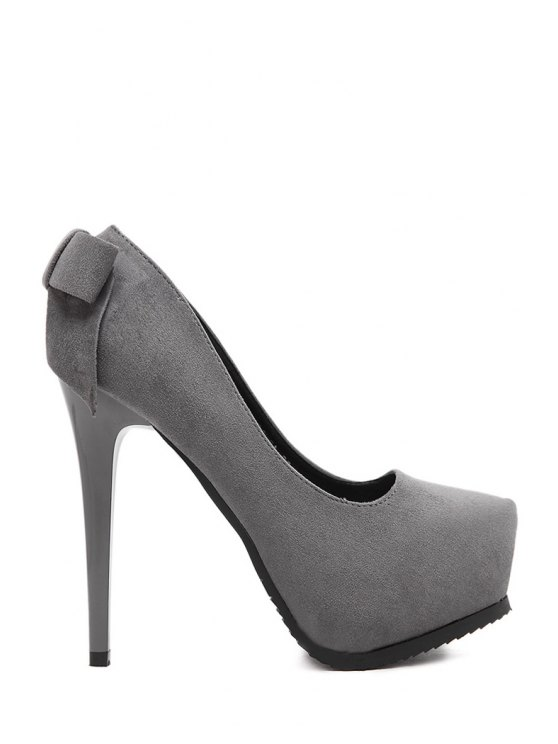 fashion Platform Bow Suede Pumps - GRAY 37