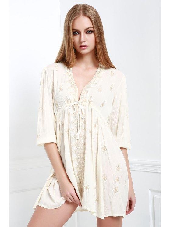 chic Embroidered Drawstring Design Mini Dress - OFF-WHITE S