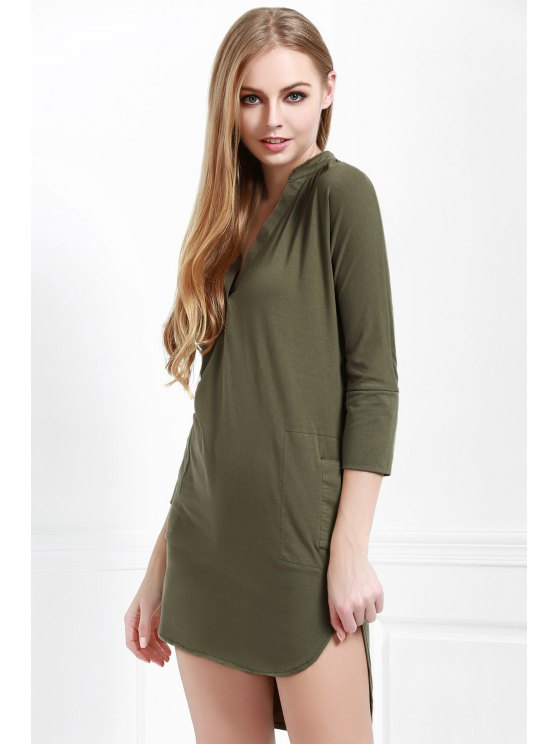 fancy Pure Color Plunging Neck Long Sleeve Dress - PEA GREEN S
