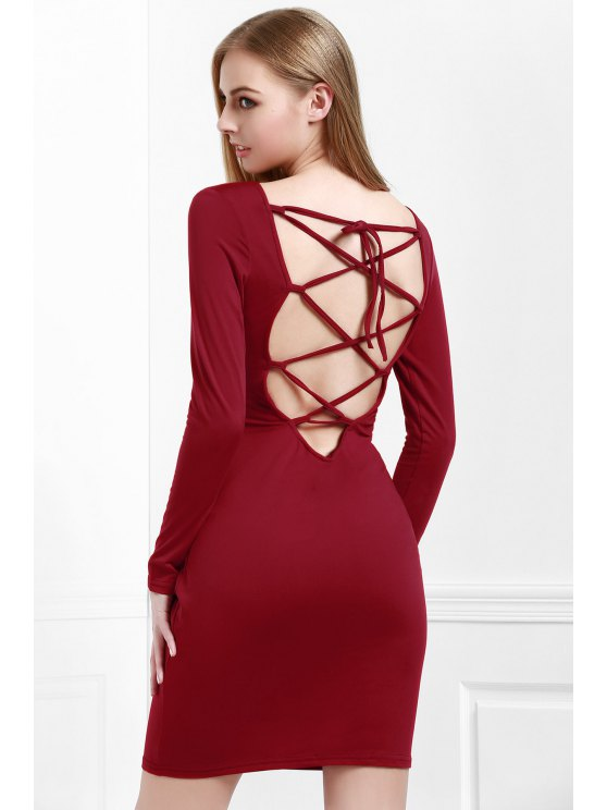 outfit Wine Red Long Sleeves Bodycon Dress - WINE RED S
