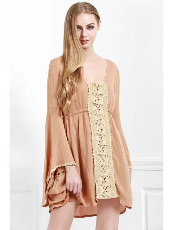 fancy Lace Spliced Square Neck Long Sleeve Dress - LIGHT BROWN S