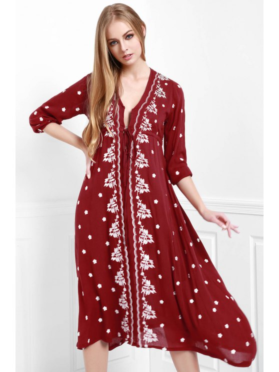 affordable Floral Embroidery Plunging Neck Dress - WINE RED S