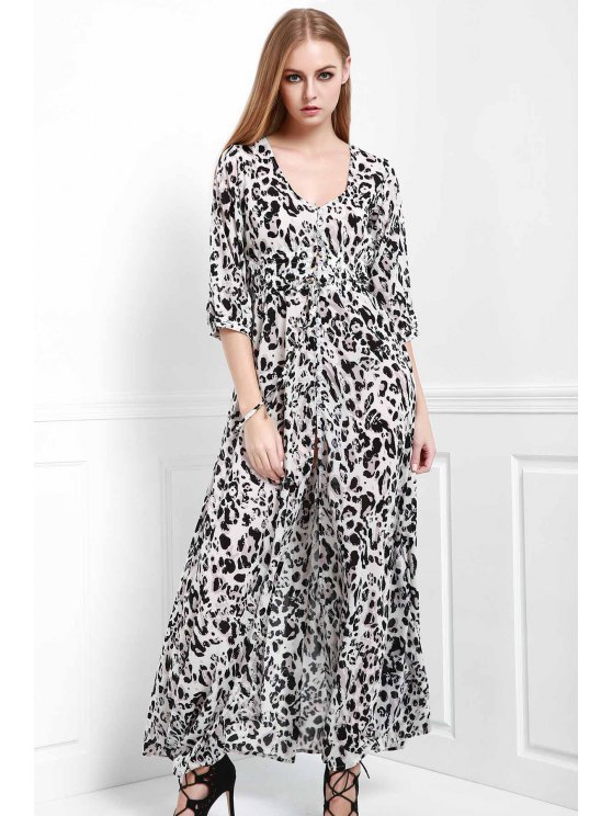 fashion Leopard Single-Breasted Maxi Dress - LEOPARD S