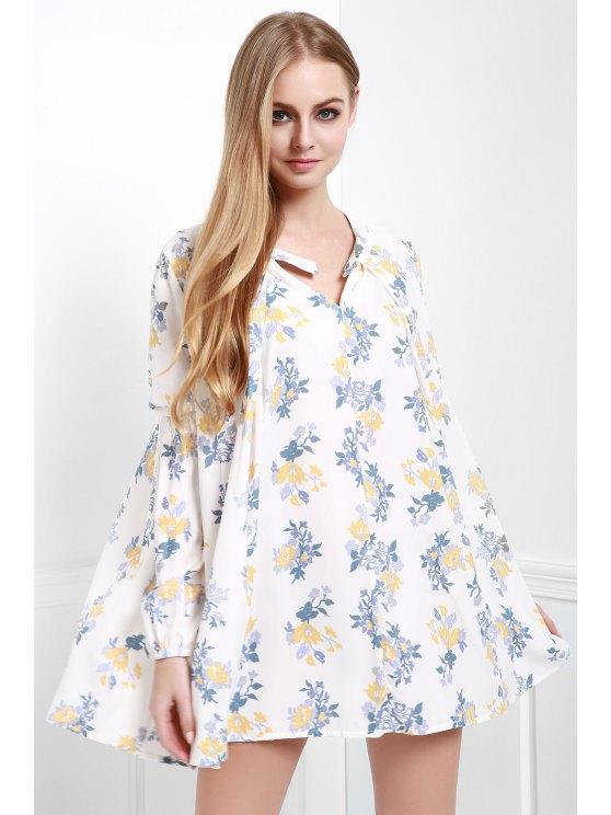 trendy Floral Print Smock A-Line Dress - WHITE XS