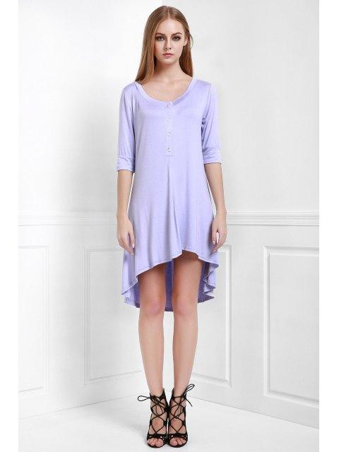 buy Buttoned Scoop Neck Tee Dress - PURPLE S Mobile