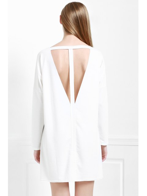 new Cut Out Back Scoop Neck 3/4 Sleeve Dress - WHITE S Mobile