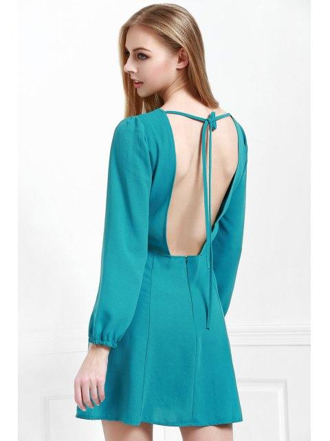 chic Long Sleeve Open Back Green Dress - BLACKISH GREEN L Mobile