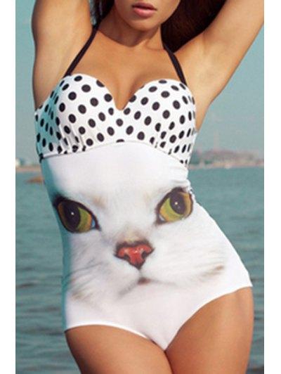 Kitten Polka Dot One-Piece Swimwear - White