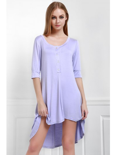 Buttoned Scoop Neck Tee Dress - Purple