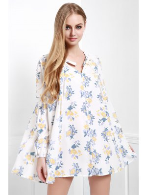 Floral Print Smock A-Line Dress - White