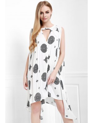 Print Keyhole Swing Dress