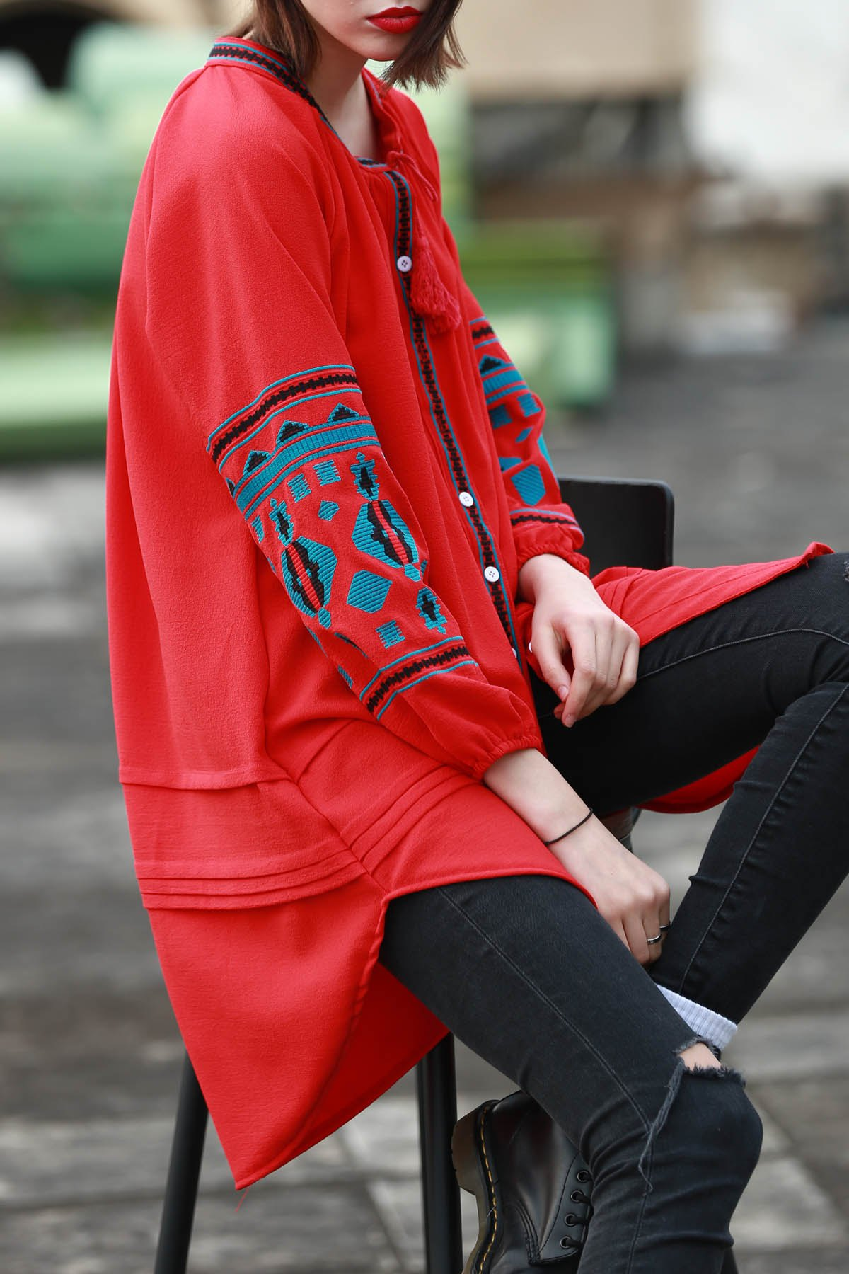 V Neck Long Sleeve Ethnic Embroidered Dress
