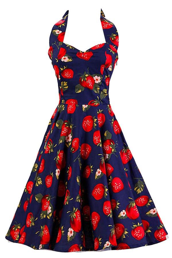 Halter Strawberry Print Backless Dress