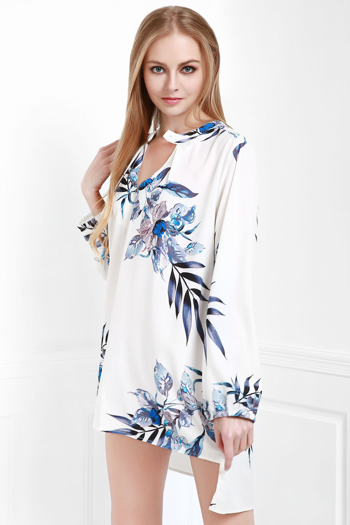 V-Neck Flower Loose-Fitting Blouse - WHITE ONE SIZE(FIT SIZE XS TO M)