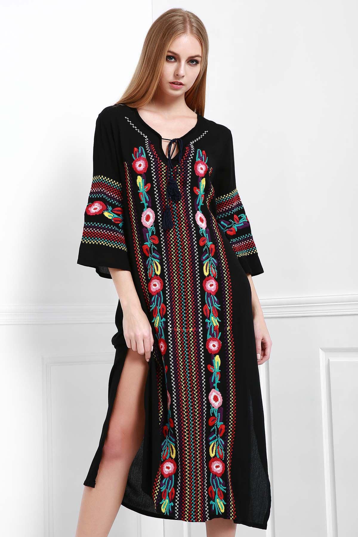 V-Neck Floral Embroidery Side Slit Long Sleeve Dress