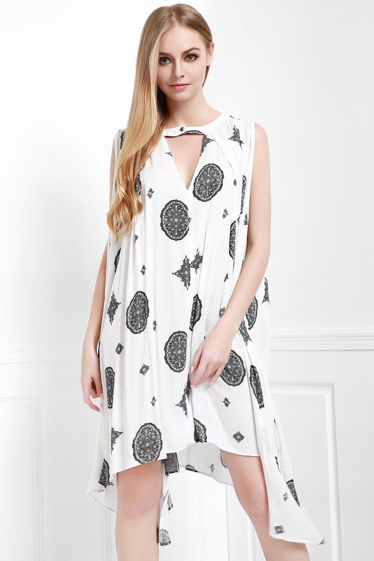 Sleeveless Print A Line Dress