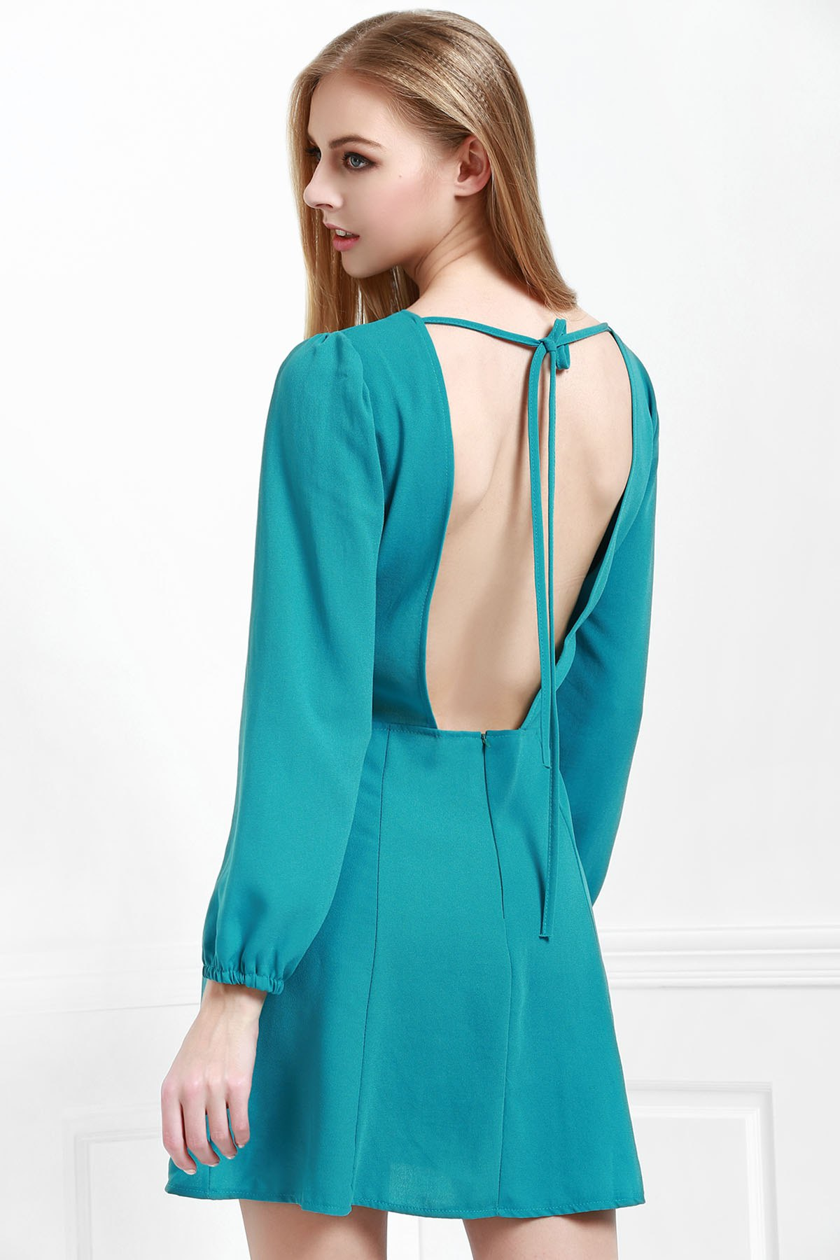Round Neck Long Sleeve Open Back Green Dress