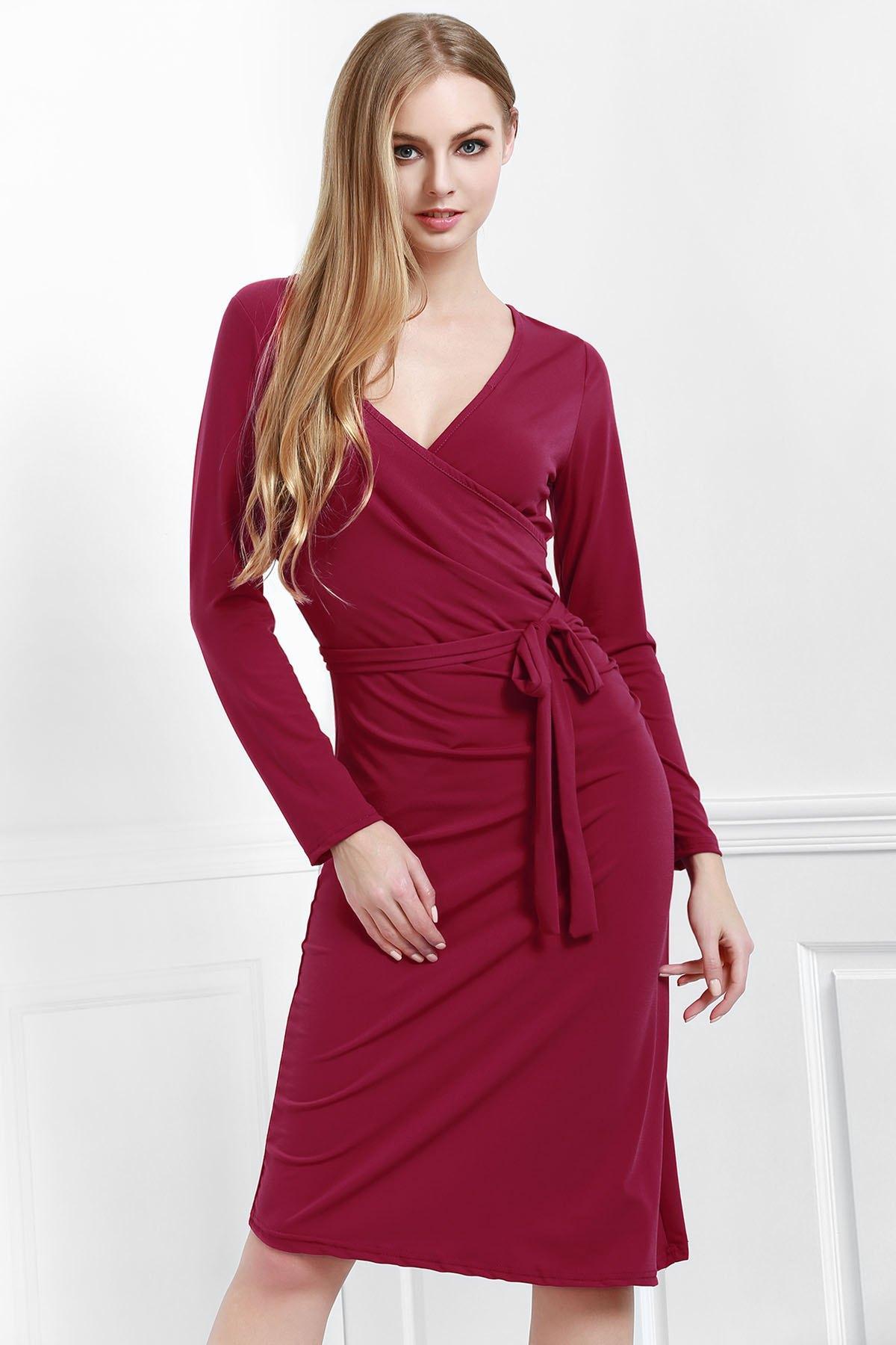V Neck Long Sleeves Solid Color Dress