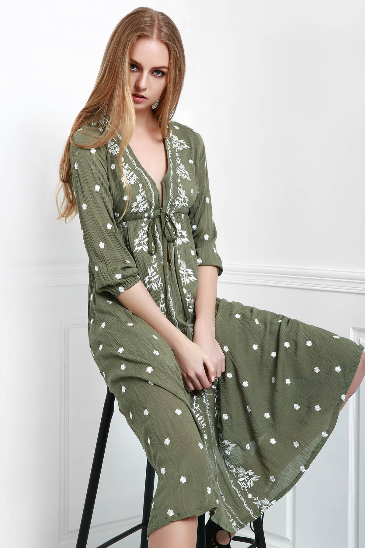 V-Neck Embroidered Drawstring Dress - ARMY GREEN S