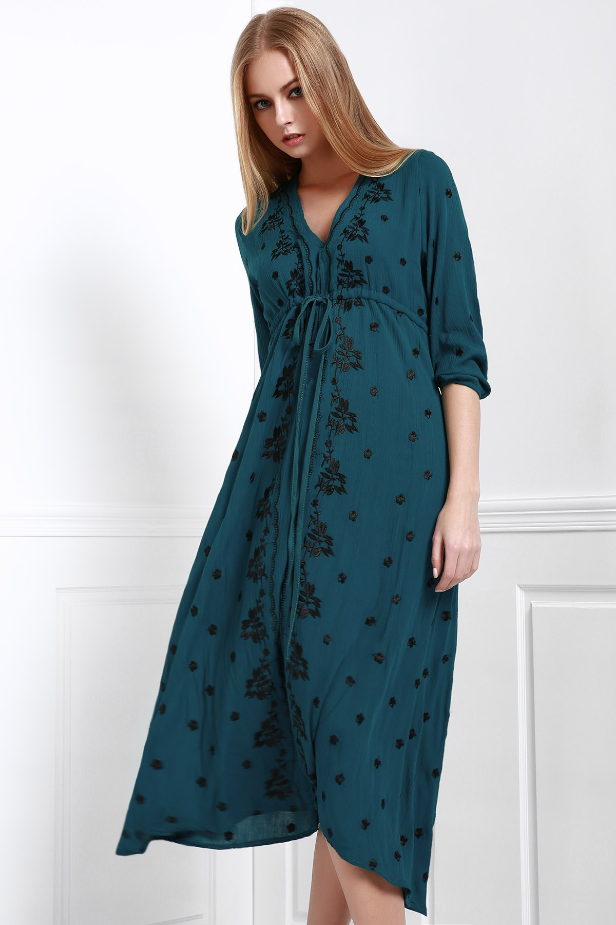 Embroidery Print Waisted Plunging Neck Maxi Dress - GREEN S