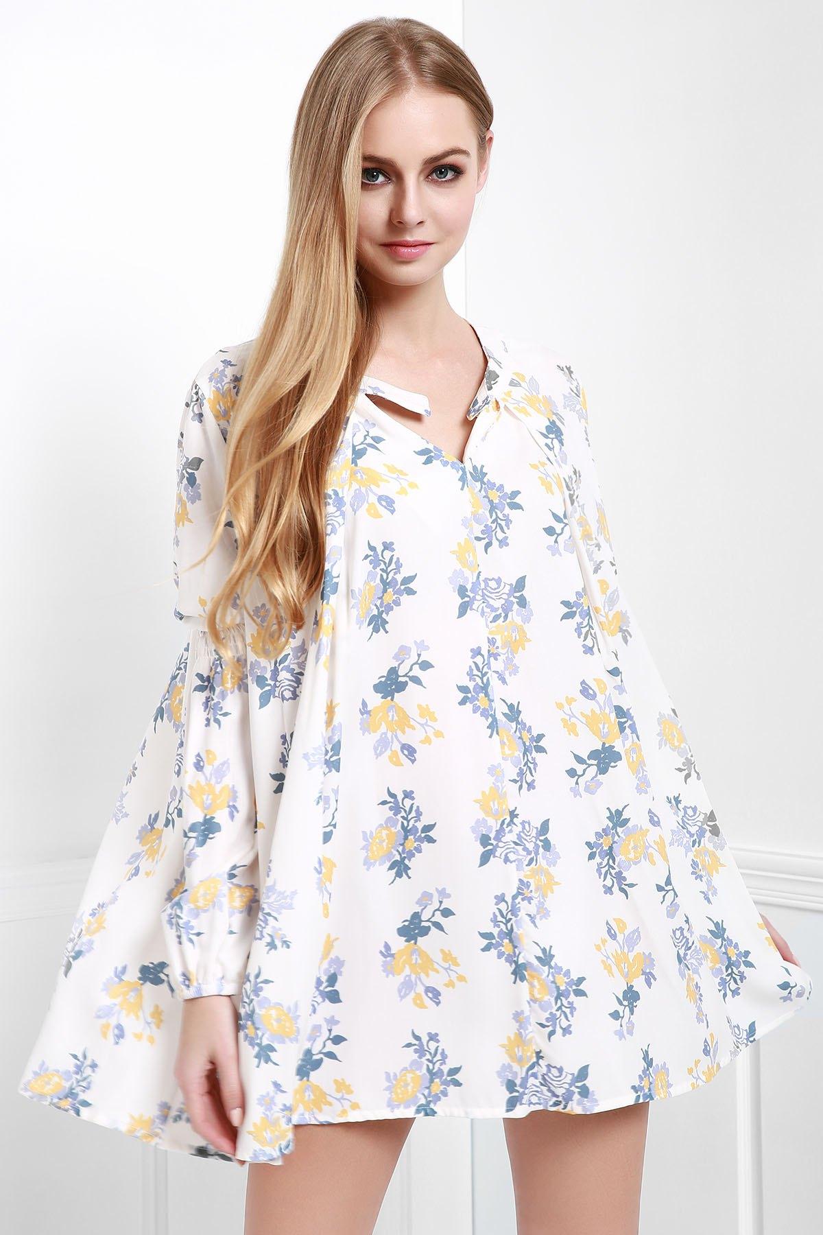 Lantern Sleeve Floral A-Line Dress - WHITE XS