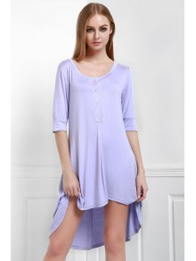 Buttoned Scoop Neck Tee Dress