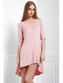 3/4 Sleeve Solid Color High Low Dress