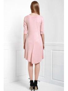 3/4 Sleeve Solid Color High Low Dress - DARK AUBURN L