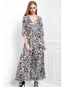 Leopard Single-Breasted Maxi Dress