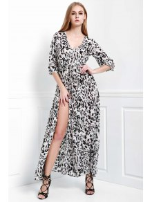 Leopard Single-Breasted Maxi Dress