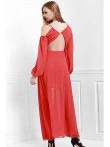 Spaghetti Strap Backless Ruffle Maxi Dress - RED S