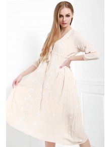 V-Neck Drawstring Embroidered Dress - Light Pink