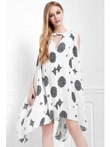 Print Keyhole Swing Dress - OFF WHITE XS