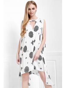 Print Keyhole Swing Dress